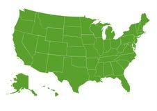 Verde do mapa dos EUA ilustração stock