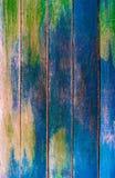 Verde do vintage e escuro de madeira - placas horizontais azuis Vista dianteira com espaço da cópia, sala para o texto Fundo para fotografia de stock