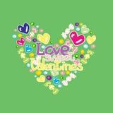 Verde dolce dei biglietti di S. Valentino di amore Fotografia Stock Libera da Diritti