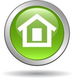 Verde domestico dell'icona di web del bottone illustrazione di stock