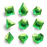 Verde dos desenhos animados, cristais diferentes das formas da esmeralda ilustração do vetor