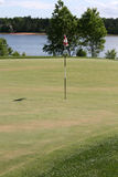 Verde e bandierina di golf immagini stock