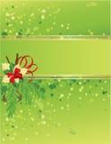 Verde e cartão de Natal do ouro com árvore de Natal Fotografia de Stock