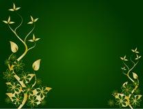 Verde e disegno floreale dell'oro Fotografia Stock