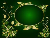 Verde e disegno floreale dell'oro illustrazione vettoriale