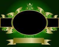 Verde e disegno floreale dell'oro Immagini Stock Libere da Diritti