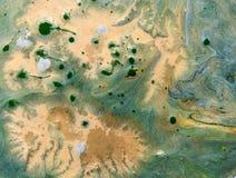 Verde e fondo di marmorizzazione dell'oro Fotografia Stock Libera da Diritti
