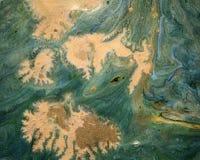 Verde e fondo di marmorizzazione dell'oro Fotografie Stock