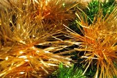 Verde e lamé festivo dell'oro per il fondo di Natale Fotografia Stock