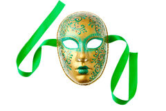 Verde e máscara do ouro foto de stock royalty free