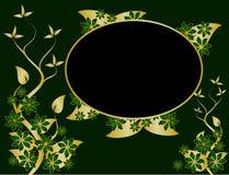 Verde e priorità bassa floreale dell'oro Fotografia Stock