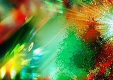 Verde e rosso, luci gialle e raggi sui precedenti neri, sul fondo strutturato di illuminazione, sulla struttura astratta e sul mo Fotografia Stock Libera da Diritti