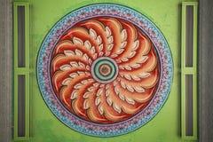 Verde e vermelho indianos da pintura da mandala Imagens de Stock Royalty Free