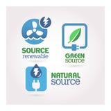 Verde - ecología - sistema del icono del poder Imagen de archivo libre de regalías