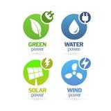 Verde - ecología - sistema del icono del poder Foto de archivo