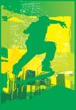 Verde elettrico del pattinatore Fotografie Stock Libere da Diritti