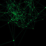 Verde en fondo abstracto negro Puntos de conexión con las líneas Fotos de archivo