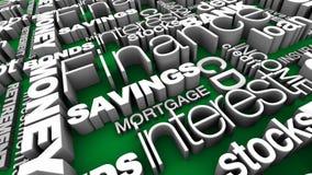 Verde finanziario di parole 3D Immagine Stock