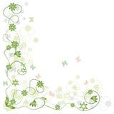 Verde floral del marco, mariposa stock de ilustración
