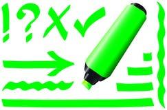 Verde fluorescente del marcador Fotografía de archivo
