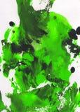 Verde, fondo pintado a mano abstracto blanco y negro Imágenes de archivo libres de regalías