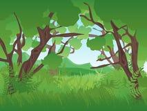 Verde Forest Landscape Background del verano de la historieta Vector Foto de archivo