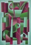 Verde geometrico e Bordeaux di arte di Digital illustrazione di stock