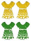 Verde giallo del vestito dalla ragazza dell'abito Fotografia Stock