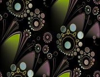 Verde gris azul y negro de la violeta redonda inconsútil de las flores con las hojas diagonalmente libre illustration