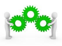 verde humano de la máquina del engranaje 3d Foto de archivo libre de regalías