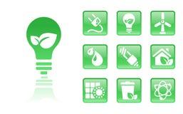 Verde-icono-bulbo stock de ilustración