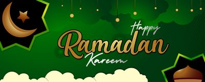 Verde islámico y oro de la pendiente del día de fiesta del kareem del Ramadán también negros ilustración del vector