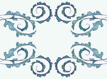 verde-linear-ornamento-luz das Ilustração-arte-teste-bonito-decoração-plantas - fundo-desenho ilustração royalty free