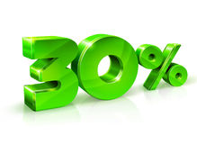 Verde lustroso 30 trinta por cento fora, venda Isolado no fundo branco, objeto 3D Imagens de Stock Royalty Free