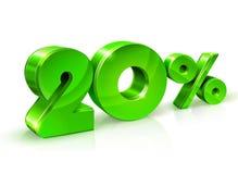 Verde lustroso 20 vinte por cento fora, venda Isolado no fundo branco, objeto 3D ilustração stock