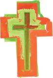Verde moderno del estilo abstracto artístico de la acuarela y rojo coloridos Foto de archivo