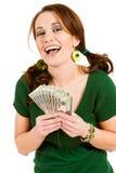 Verde: Mulher entusiasmado que guarda o fã do dinheiro Fotografia de Stock Royalty Free