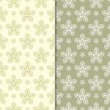 Verde verde oliva ed ambiti di provenienza floreali beige Insieme dei reticoli senza giunte Immagine Stock