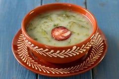 Verde portoghese di caldo della minestra fotografia stock