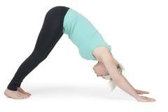 Verde position_202 de la mujer de la yoga Fotos de archivo libres de regalías