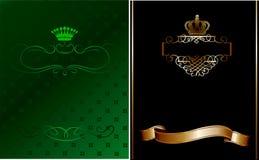 Verde, preto e bandeira ornamentado do ouro. Fotografia de Stock