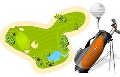 Verde que pone, bolso de golf y bola Fotos de archivo libres de regalías