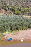 Verde River Landscape and Kayaks Stock Photos