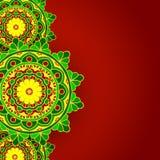 Verde rojo del fondo de la mandala Fotos de archivo libres de regalías