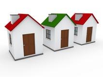 verde rojo del hogar de la casa 3d Foto de archivo