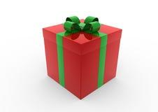 Verde rojo del rectángulo de regalo de la Navidad Fotografía de archivo libre de regalías