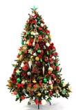 Verde, rojo y oro del árbol de navidad Imagen de archivo libre de regalías