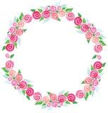 Verde rosa dei fiori della corona dell'acquerello di vettore illustrazione di stock