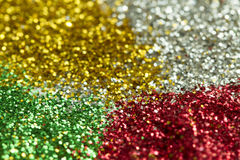 Verde, rosso, oro e fondo dell'argento dai lamé con bokeh Fotografia Stock Libera da Diritti