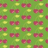 Verde senza cuciture del fondo del modello di vettore delle ciliege illustrazione di stock